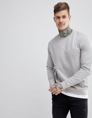 ASOS DESIGN Sweatshirt With Hem Extender In Light Grey