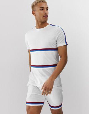 Asos Contrastant En shirt À Et Empiècements Tulle DesignT BandesensembleBlanc 6bgf7y