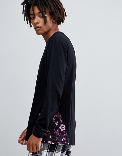ASOS DESIGN - T-shirt comoda a maniche lunghe con pannello a fiori