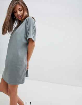 ASOS DESIGN t-shirt dress with rolled sleeves and wash