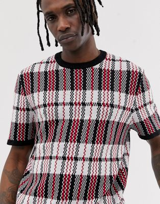ASOS DESIGN - T-shirt en maille à carreaux - Noir et rouge