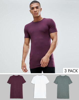 ASOS DESIGN T-shirt i longline- och muscle fit-modell med rund halsringning och stretch 3-pack SPARA