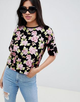 ASOS DESIGN t-shirt in mixed floral print