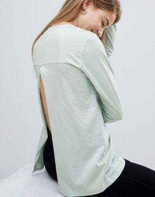 ASOS DESIGN - T-shirt manches longues avec dos fendu - Vert