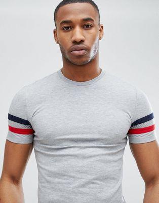 ASOS DESIGN - T-shirt moulant avec rayures sur les manches - Gris