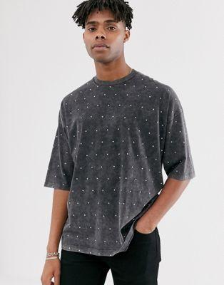 shirt Oversize Orné Noir Délavé Asos À De Pierreries DesignT Mi longues Manches fyvb6gY7