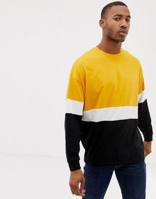 Immagine 1 di ASOS DESIGN - T-shirt oversize lunga a maniche lunghe gialla colour block