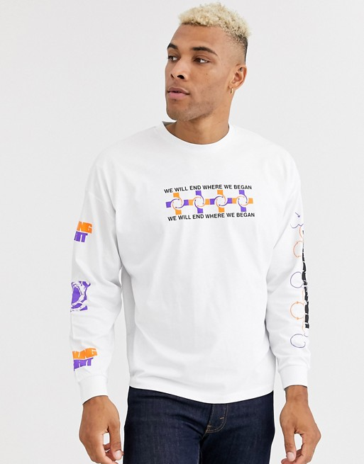 Asos Design - T-shirt Oversize Pesante A Maniche Lunghe Con Stampa Sul Petto