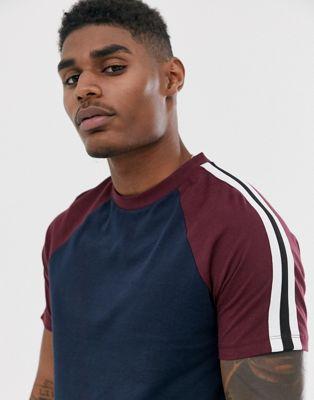 ASOS DESIGN - T-shirt raglan in tessuto organico blu navy con nastro