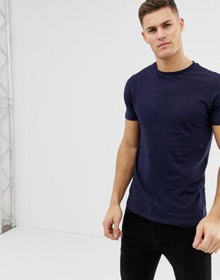 ASOS DESIGN - T-shirt ras de cou long - Bleu marine