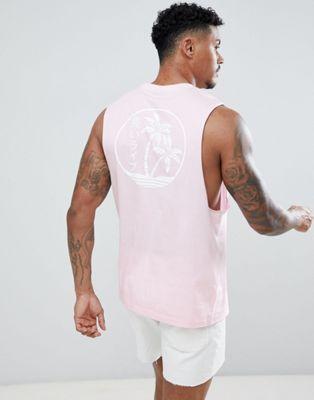Immagine 1 di ASOS DESIGN - T-shirt senza maniche con giromanica ampio e stampa di palme