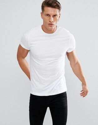 ASOS DESIGN t-shirt with crew neck and roll sleeve in white