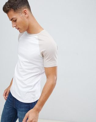 Image 1 of ASOS DESIGN t-shirt with crew neck with contrast raglan in white