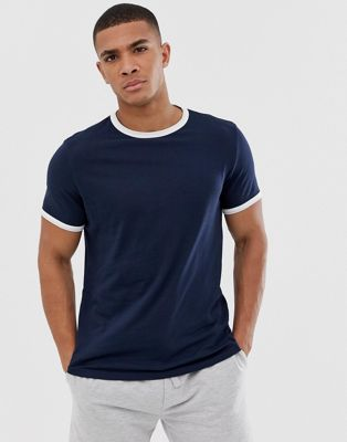 Image 1 of ASOS DESIGN t-shirt with crew neck with contrast ringer in navy