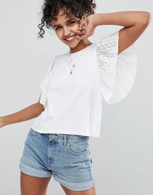 ASOS DESIGN T-Shirt With Flutter Sleeve In Broderie