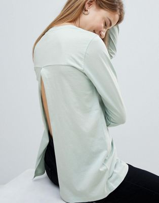 ASOS DESIGN t-shirt with long sleeve split back in green