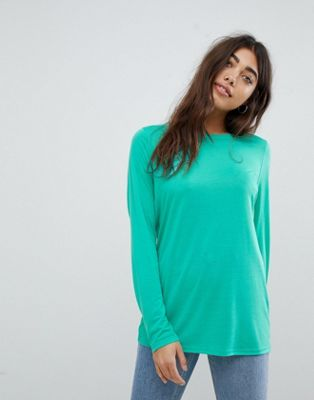 ASOS DESIGN t-shirt with longline sleeve in lightweight jersey in bright green