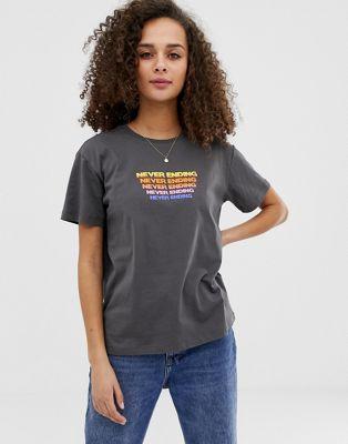ASOS DESIGN t-shirt with never ending rainbow motif