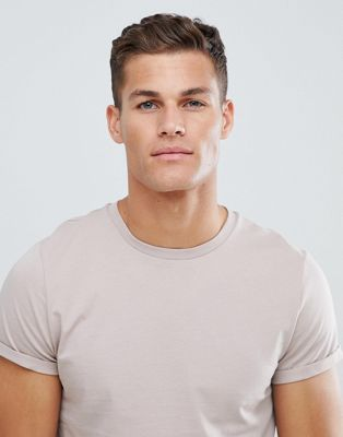 ASOS DESIGN t-shirt with roll sleeve in grey