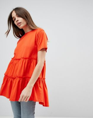 ASOS DESIGN T-Shirt With Tiered Smock Hem