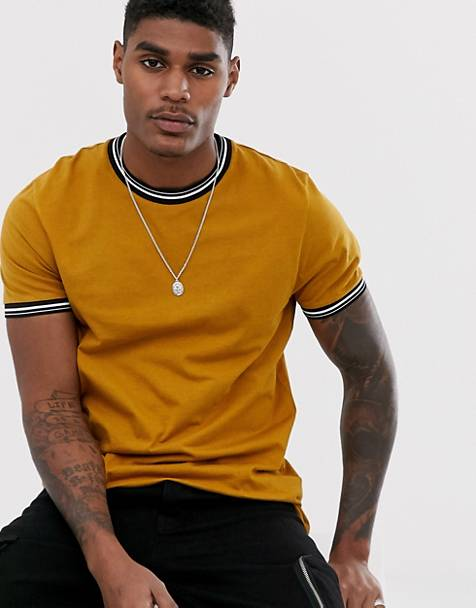 ASOS DESIGN t-shirt with tipping in brown