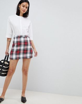 ASOS DESIGN tailored a-line mini skirt in red check