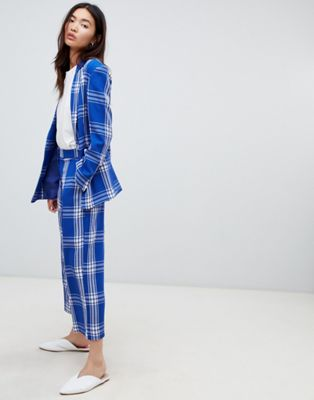 ASOS DESIGN tailored blue picnic check cropped wide leg trousers