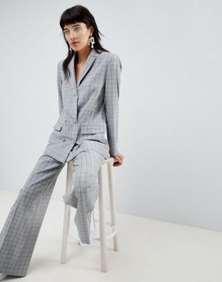 ASOS DESIGN tailored mansy check wide leg