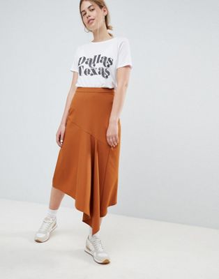 ASOS DESIGN tailored midi skirt with asymmetric waterfall detail