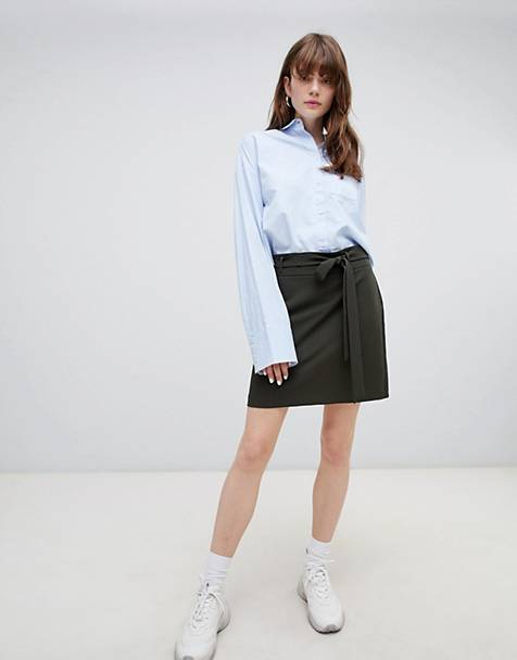 ASOS DESIGN tailored mini skirt with obi tie