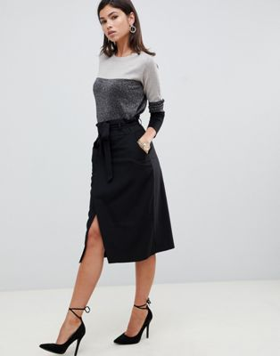 ASOS DESIGN tailored pencil skirt with obi tie