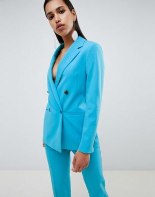 ASOS DESIGN tailored pop blue longline double breasted blazer