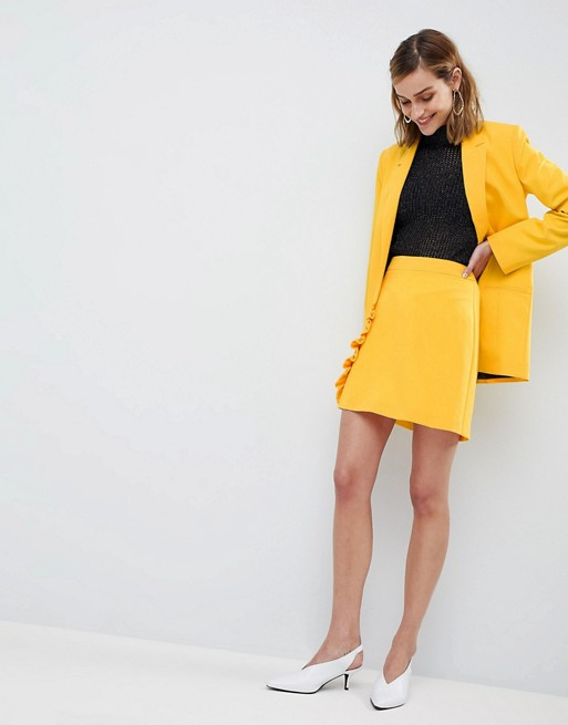 ASOS DESIGN tailored pop yellow mini skirt