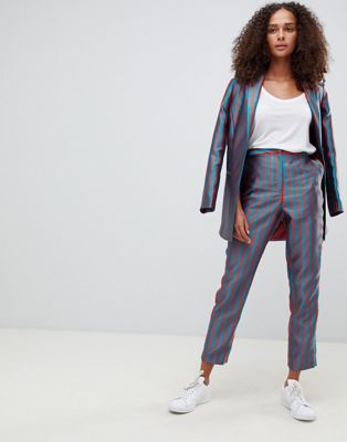 ASOS DESIGN tailored slim trousers in striped jacquard