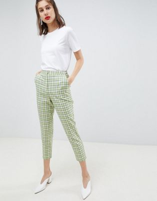 ASOS DESIGN tailored slim trousers in yellow and green check