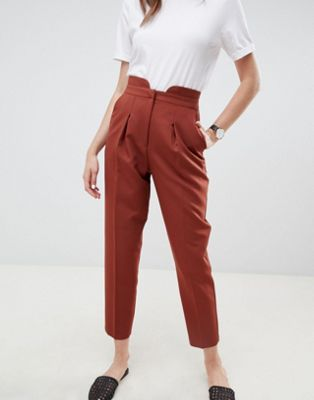 ASOS DESIGN tailored tapered trousers with notch front detail