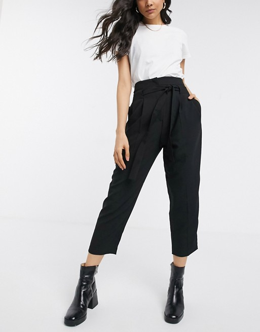 4a76cf31 ASOS DESIGN tailored tie waist tapered ankle grazer trousers   ASOS