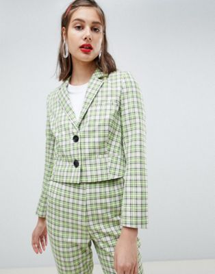 ASOS DESIGN tailored yellow and green check blazer