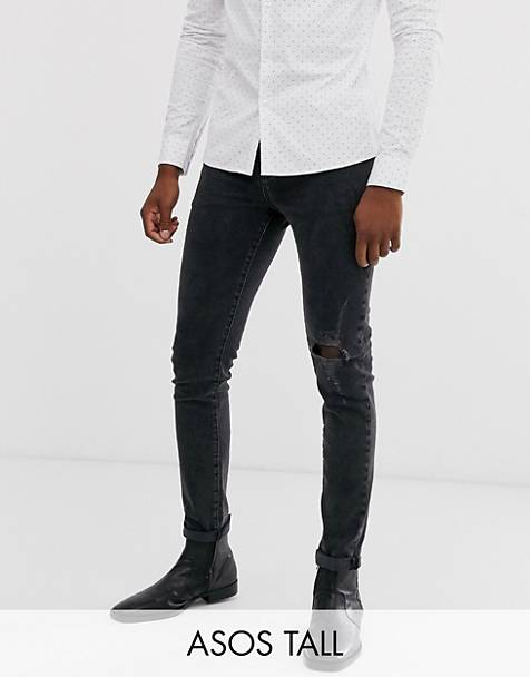 ASOS DESIGN Tall 12.5oz skinny jeans in washed black with knee rip and destroyed hem
