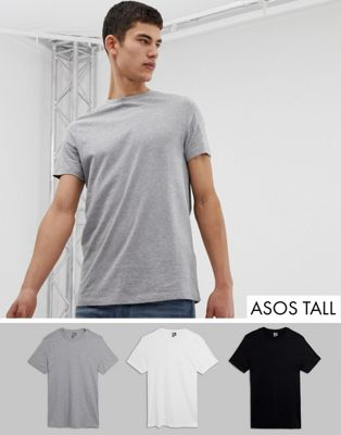 ASOS DESIGN Tall 3 pack t-shirt with crew neck save
