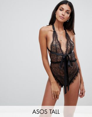 Image 1 of ASOS DESIGN Tall Amy ring back ribbon bodysuit