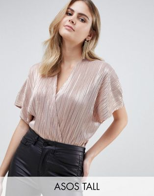 ASOS DESIGN Tall angel sleeve wrap front body in metallic