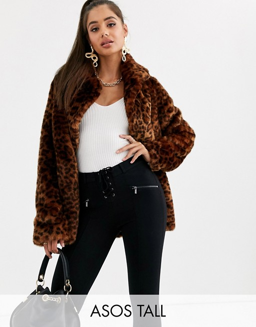 ASOS DESIGN Tall animal faux fur coat