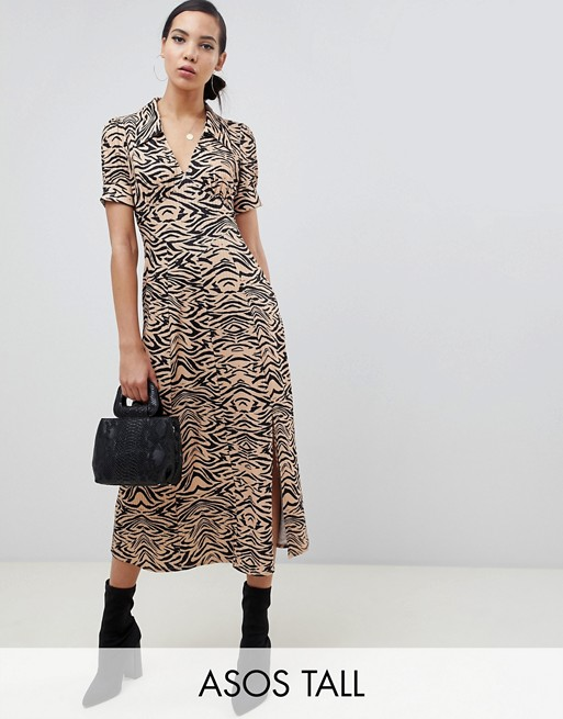 ASOS DESIGN Tall animal print midi tea dress in rib