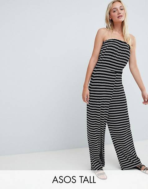 73109ba1dcb4 ASOS DESIGN Tall bandeau jersey jumpsuit with wide leg in stripe print