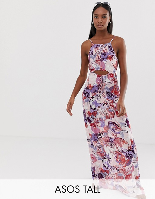 ASOS DESIGN Tall beach maxi dress in ornate paisley print with lattice waist detail