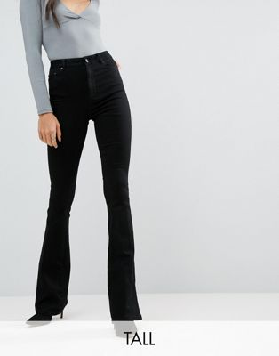 ASOS DESIGN Tall bell flare jeans in clean black with pressed crease