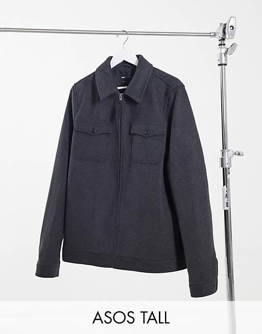 ASOS DESIGN Tall - Blouson Harrington en laine mélangée - Gris