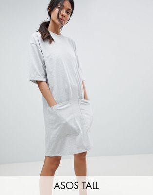 Bild 1 von ASOS DESIGN Tall – Boyfriend-T-Shirt-Kleid mit Tasche