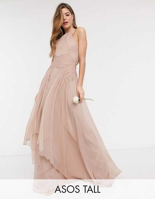 ASOS DESIGN Tall Bridesmaid pinny maxi dress with ruched bodice and layered skirt detail
